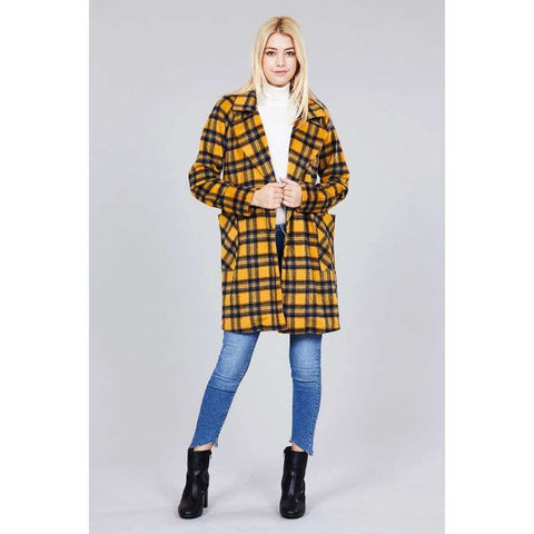 Long Sleeve Mustard/Blue Notched Lapel w/Pocket Heavy Plaid Long Jacket (Curvy Sizes Only) - Jacket