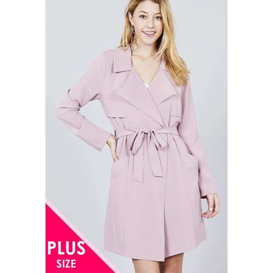 Long Sleeve Soft Pink Notched Collar w/Waist Belt Long Jacket (Curvy Sizes Only) - Jacket