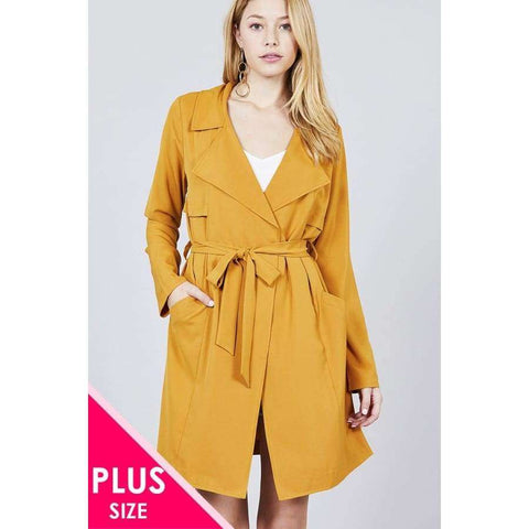 Long Sleeve Mustard Notched Collar w/Waist Belt Long Jacket (Curvy Sizes Only) - XL - Jacket