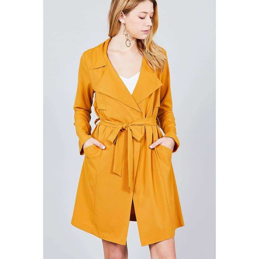 Long Sleeve Mustard Notched Collar w/Waist Belt Long Jacket (Curvy Sizes Only) - Jacket
