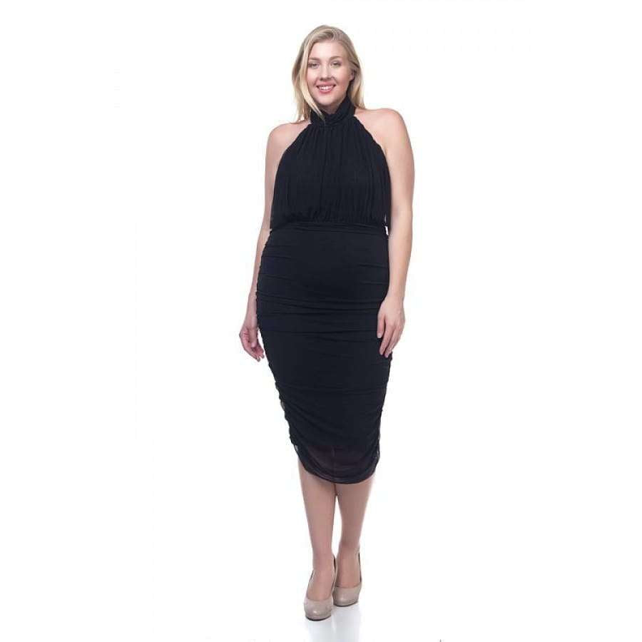 Halter Neck Sheer Black Midi Dress (Curvy Sizes Only) - 1XL - Dress