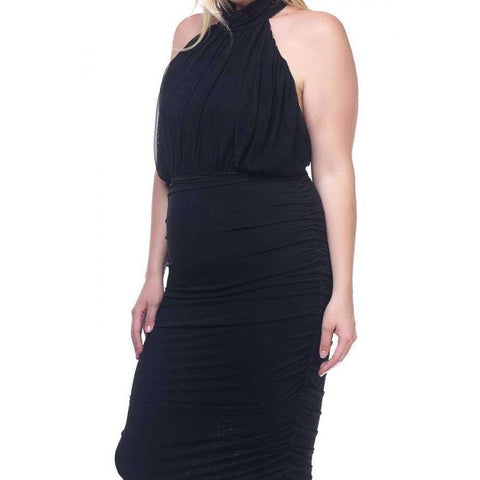 Halter Neck Sheer Black Midi Dress (Curvy Sizes Only) - Dress