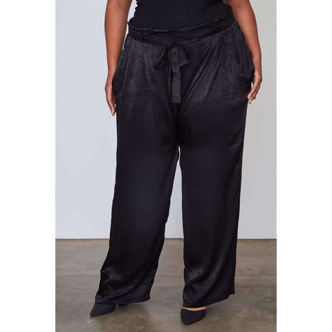 Frill Waist Belted Black Pants (Curvy Sizes Only) - 1XL - Pants