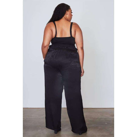 Frill Waist Belted Black Pants (Curvy Sizes Only) - Pants