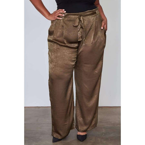 Frill Waist Belted Olive Pants (Curvy Sizes Only) - 1XL - Pants