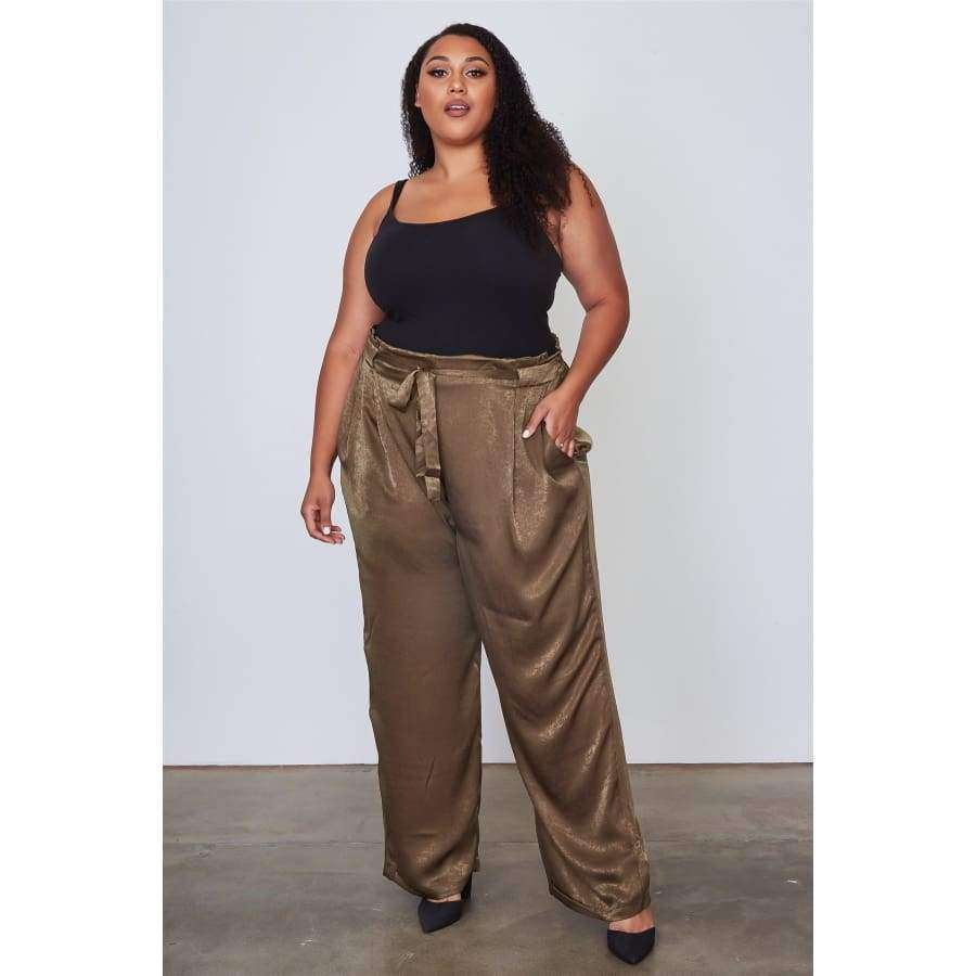 Frill Waist Belted Olive Pants (Curvy Sizes Only) - Pants