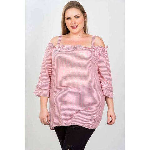 Fuchsia Boho Striped Cold Shoulder Top (Curvy Sizes Only) - 1XL - Top