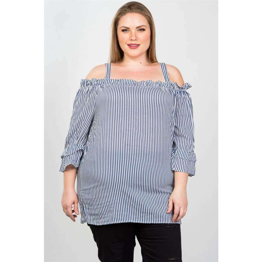 Blue Boho Striped Cold-Shoulder Top (Curvy Sizes Only) - 1XL - Top