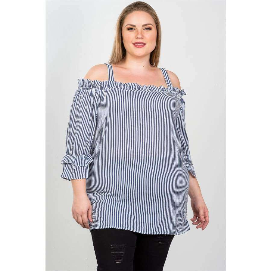Blue Boho Striped Cold-Shoulder Top (Curvy Sizes Only) - Top