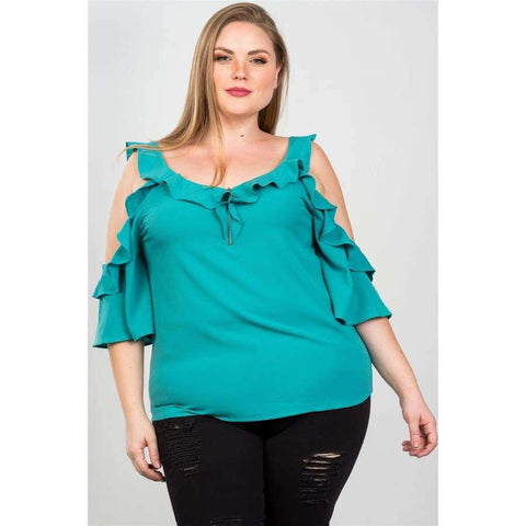 Cold Shoulder Teal Ruffle O Ring Top (Curvy Sizes Only) - 1XL - Top
