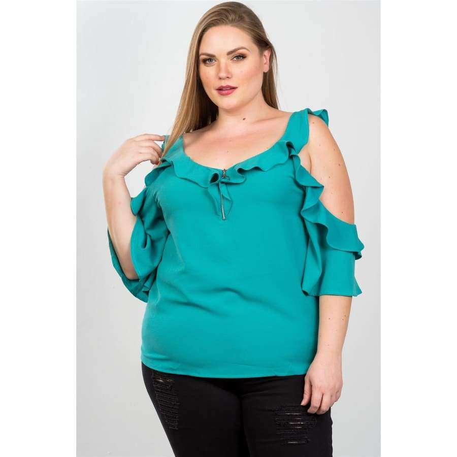 Cold Shoulder Teal Ruffle O Ring Top (Curvy Sizes Only) - Top