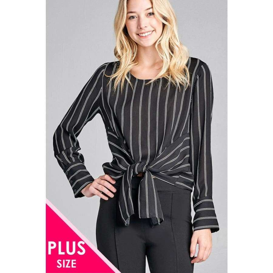 Long Sleeve Round Neck Front Self Tie Black/White Stripe Top (Curvy Sizes Only) - 1XL - Top