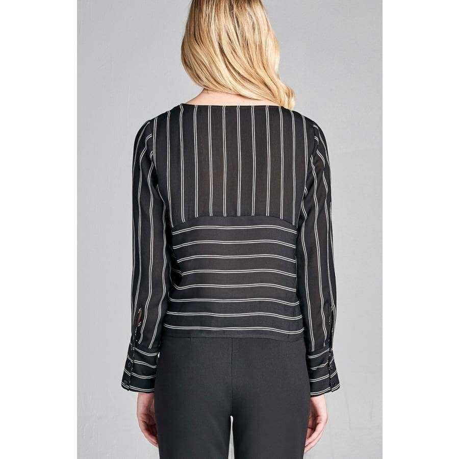 Long Sleeve Round Neck Front Self Tie Black/White Stripe Top (Curvy Sizes Only) - Top
