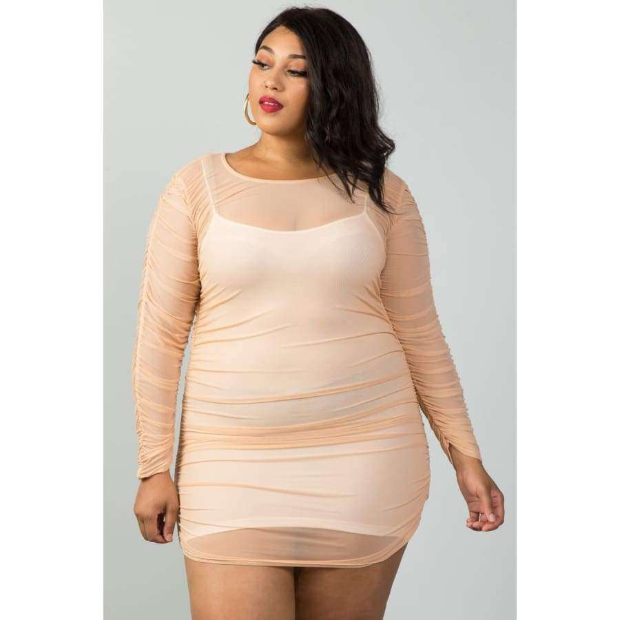 Long Sleeves Sheer Mesh Ruched Nude Mini Dress (Curvy Sizes Only) - 1XL - Mini Dresses