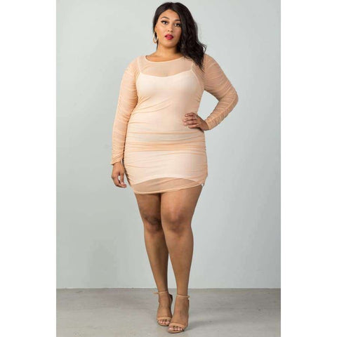 Long Sleeves Sheer Mesh Ruched Nude Mini Dress (Curvy Sizes Only) - Mini Dresses