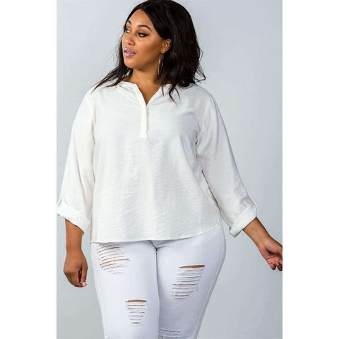 Oatmeal Stand Up Collar Roll Tab Sleeve Blouse (Curvy Sizes Only) - 1XL - Blouses & Shirts