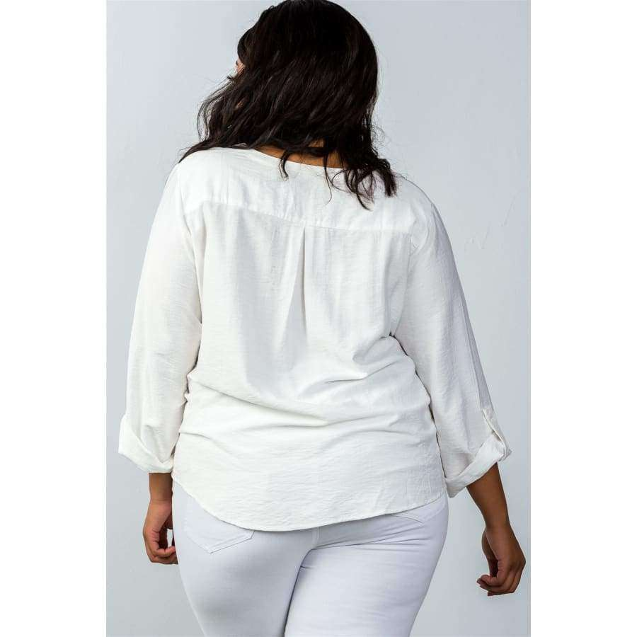 Oatmeal Stand Up Collar Roll Tab Sleeve Blouse (Curvy Sizes Only) - Blouses & Shirts