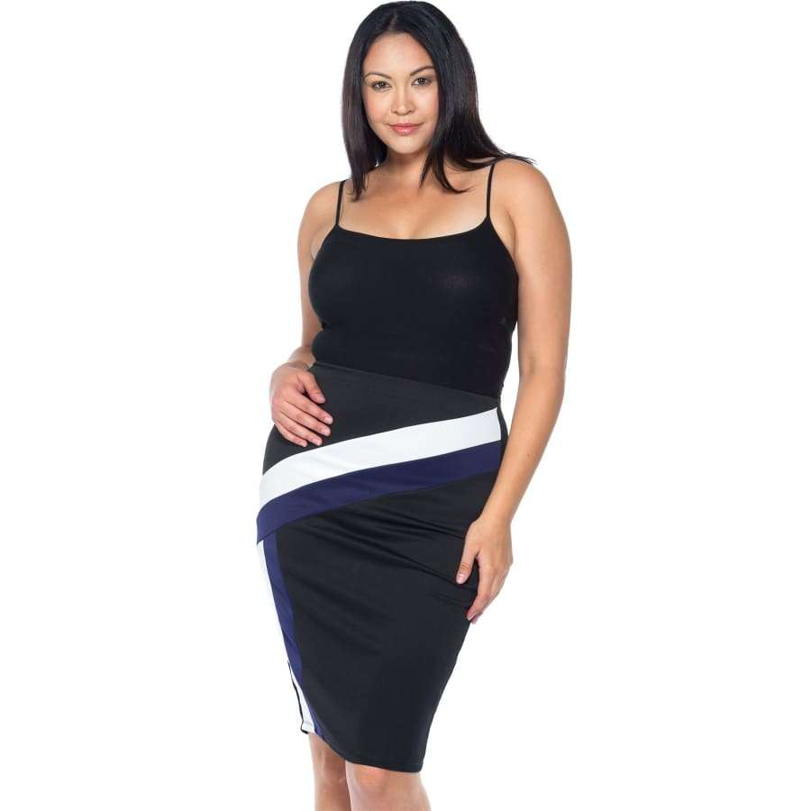 Black/Blue/White Color Block Pencil Midi Skirt (Curvy Sizes Only) - 1XL - Skirt