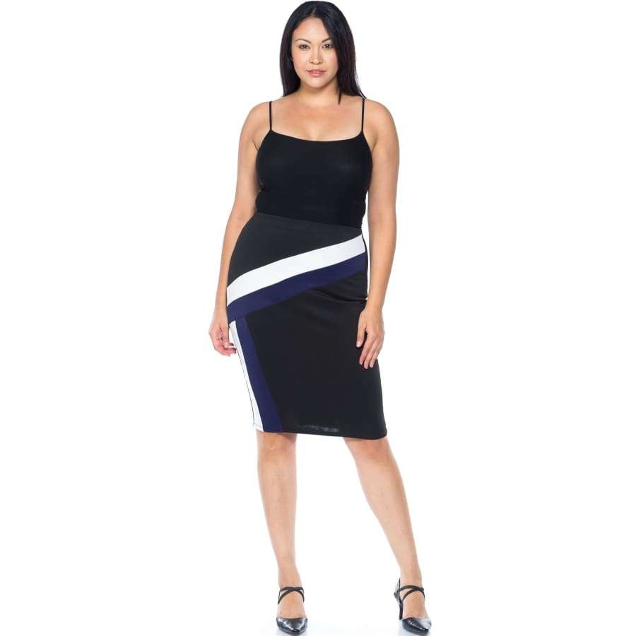 Black/Blue/White Color Block Pencil Midi Skirt (Curvy Sizes Only) - Skirt