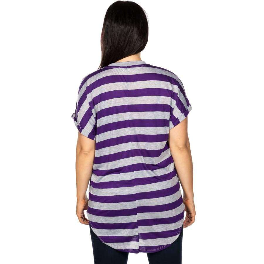 Round Neckline Purple/Grey Striped Cutout Tee (Curvy Sizes Only) - T-Shirts