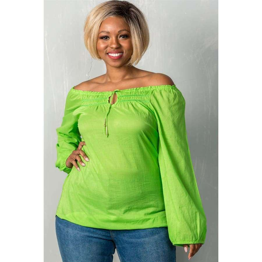 Lime Boho Contemporary Elastic Off The Shoulder Top (Curvy Sizes Only) - 1XL - Top