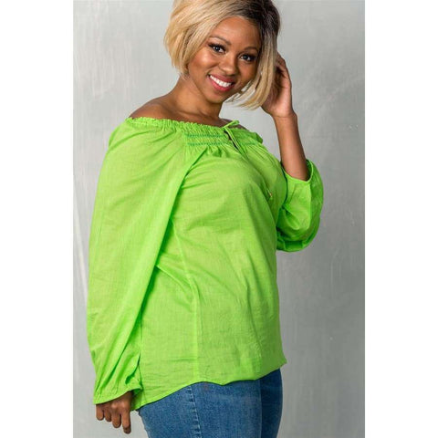 Lime Boho Contemporary Elastic Off The Shoulder Top (Curvy Sizes Only) - Top