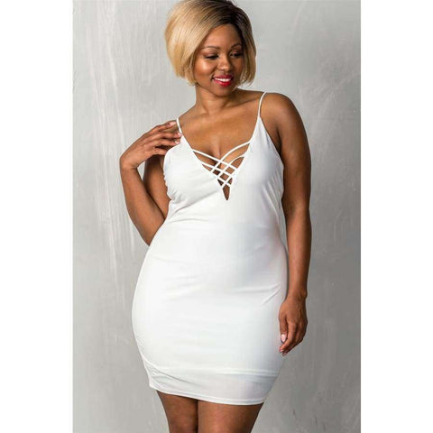 Stretchy White Adjustable Straps Mini Length Criss-Cross Dress (Curvy Sizes Only) - 1XL - Dress