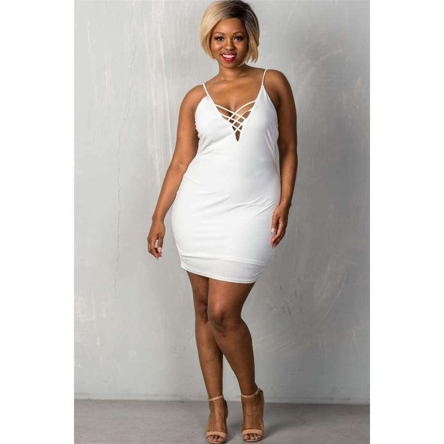 Stretchy White Adjustable Straps Mini Length Criss-Cross Dress (Curvy Sizes Only) - Dress