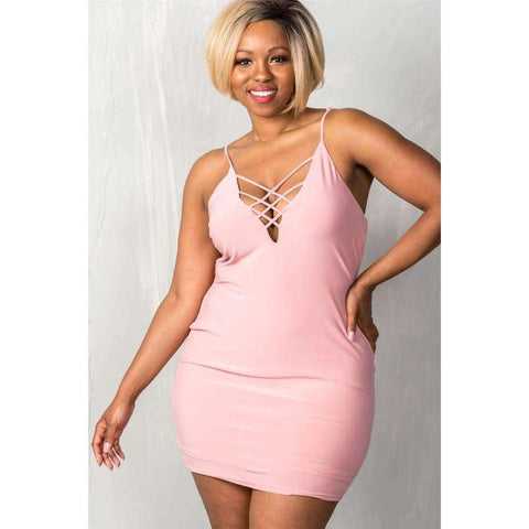 Stretchy Mauve Adjustable Straps Mini Length Criss Cross Dress (Curvy Sizes Only) - 1XL - Dress