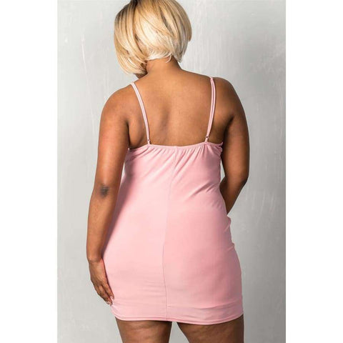 Stretchy Mauve Adjustable Straps Mini Length Criss Cross Dress (Curvy Sizes Only) - Dress