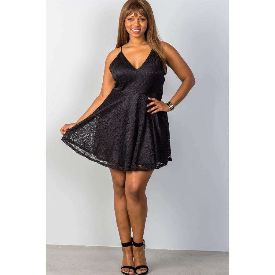Floral Lace Criss Cross Back Black Mini Dress (Curvy Sizes Only) - Dress