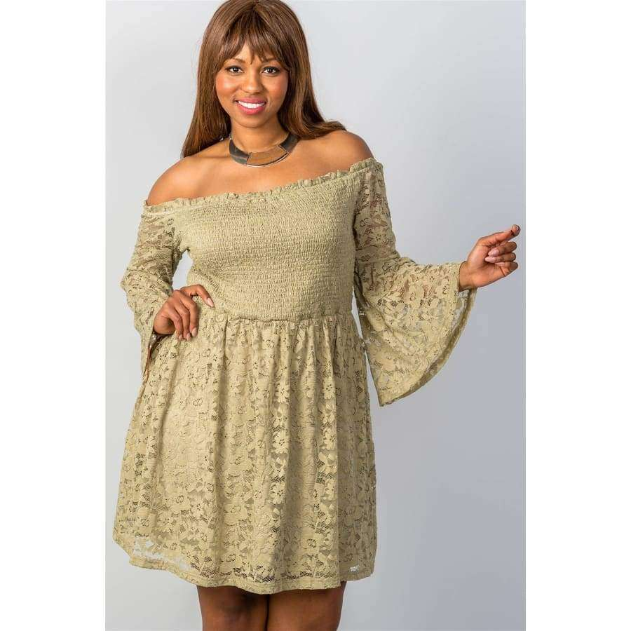 Floral Lace Off The Shoulder Sage Dress (Curvy Sizes Only) - 1XL - Dress