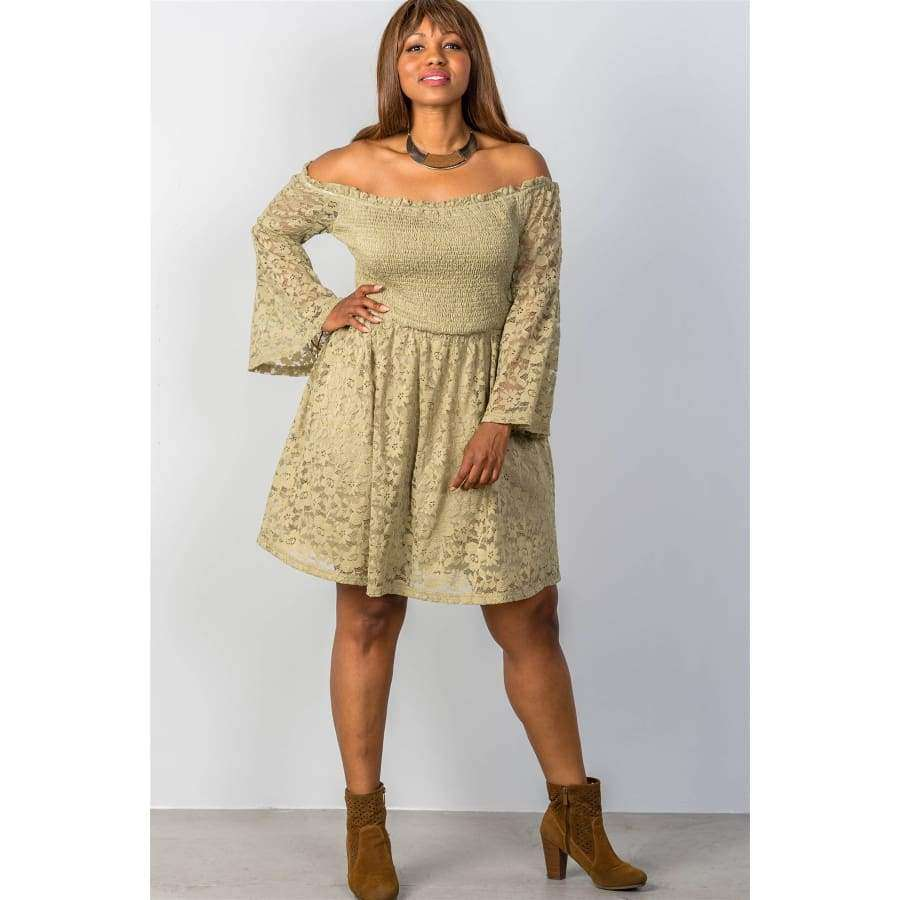 Floral Lace Off The Shoulder Sage Dress (Curvy Sizes Only) - Dress