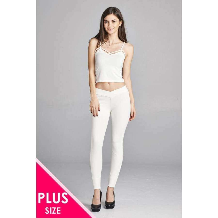 Off White Long Pants (Curvy Sizes Only) - 1XL - Pants