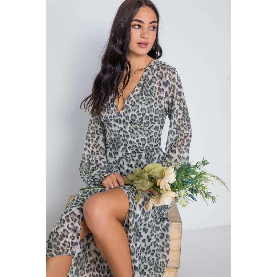 Olive Animal Print Chiffon Long Sleeve Maxi Dress - Dress