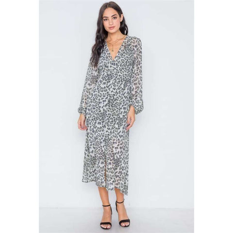 Olive Animal Print Chiffon Long Sleeve Maxi Dress - S - Dress