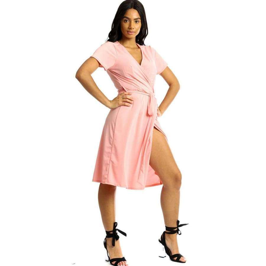Wrapped Style Pink Midi Dress - S - Dress