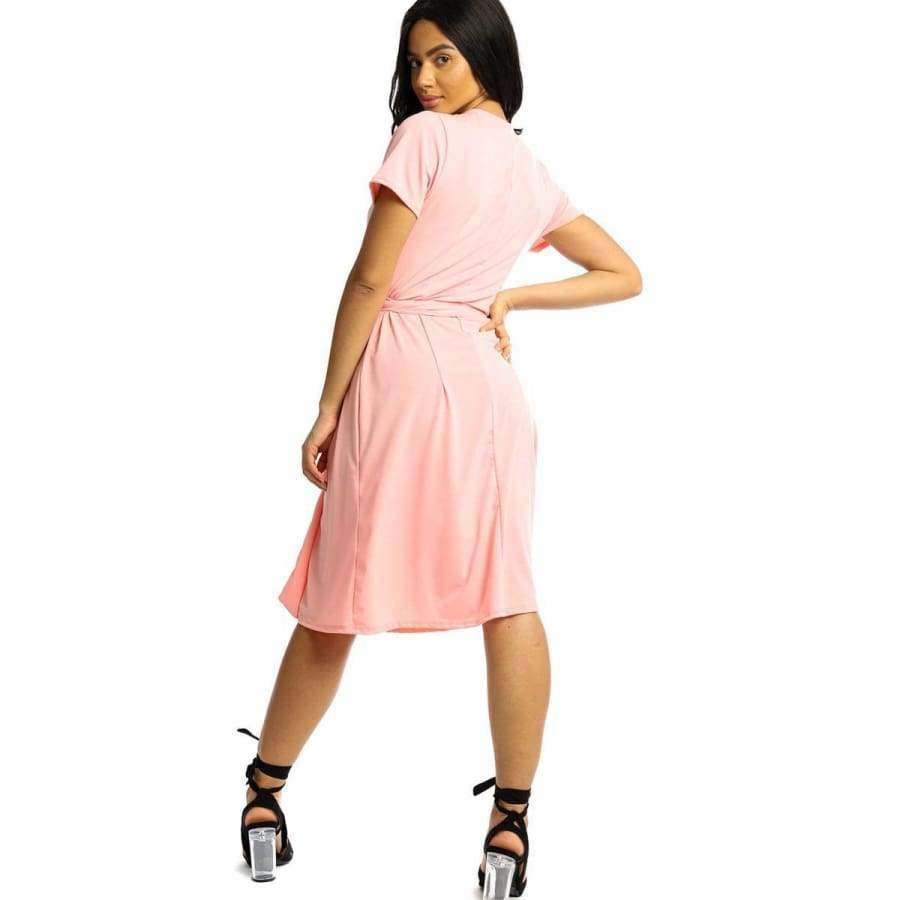 Wrapped Style Pink Midi Dress - Dress