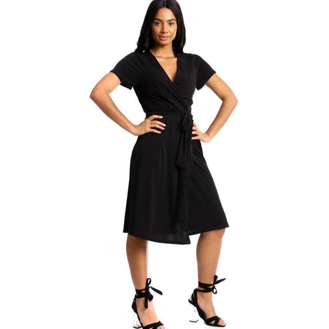 Wrapped Style Black Midi Dress - S - Dress