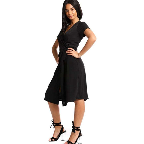 Wrapped Style Black Midi Dress - Dress