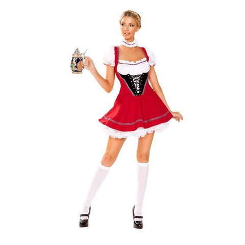 Beer Wench 2pc Set - Small / Red/White/Black - Costume