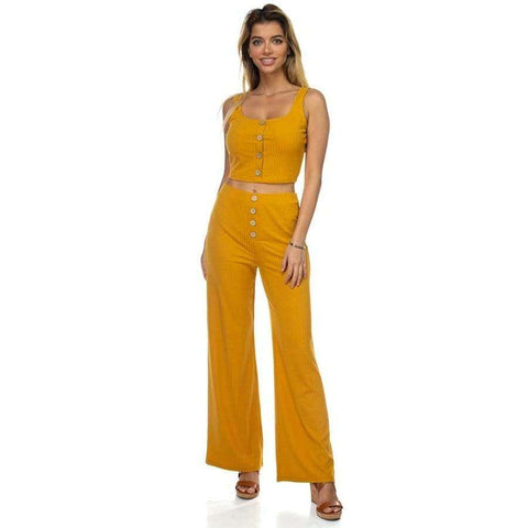 Ribbed Button Light Mustard Tank Top & Wide Leg Pants - S - Pants