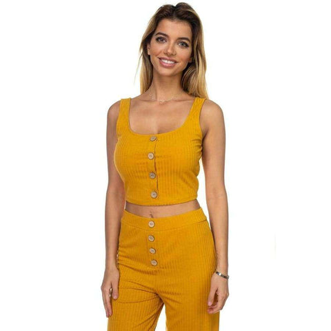 Ribbed Button Light Mustard Tank Top & Wide Leg Pants - Pants