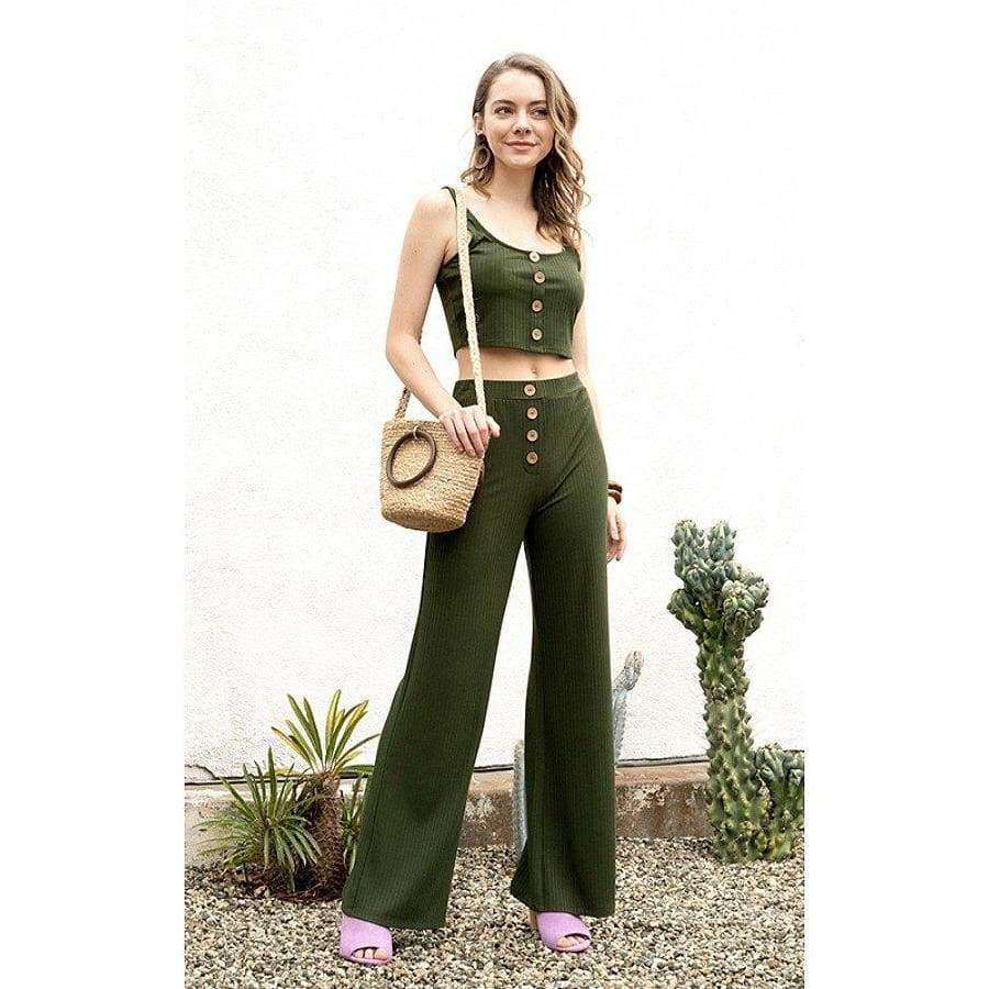 Ribbed Olive Button Tank Top & Wide Leg Pants - S - Pants