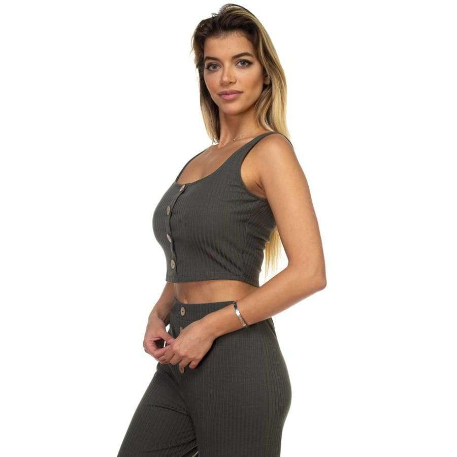 Ribbed Olive Button Tank Top & Wide Leg Pants - Pants