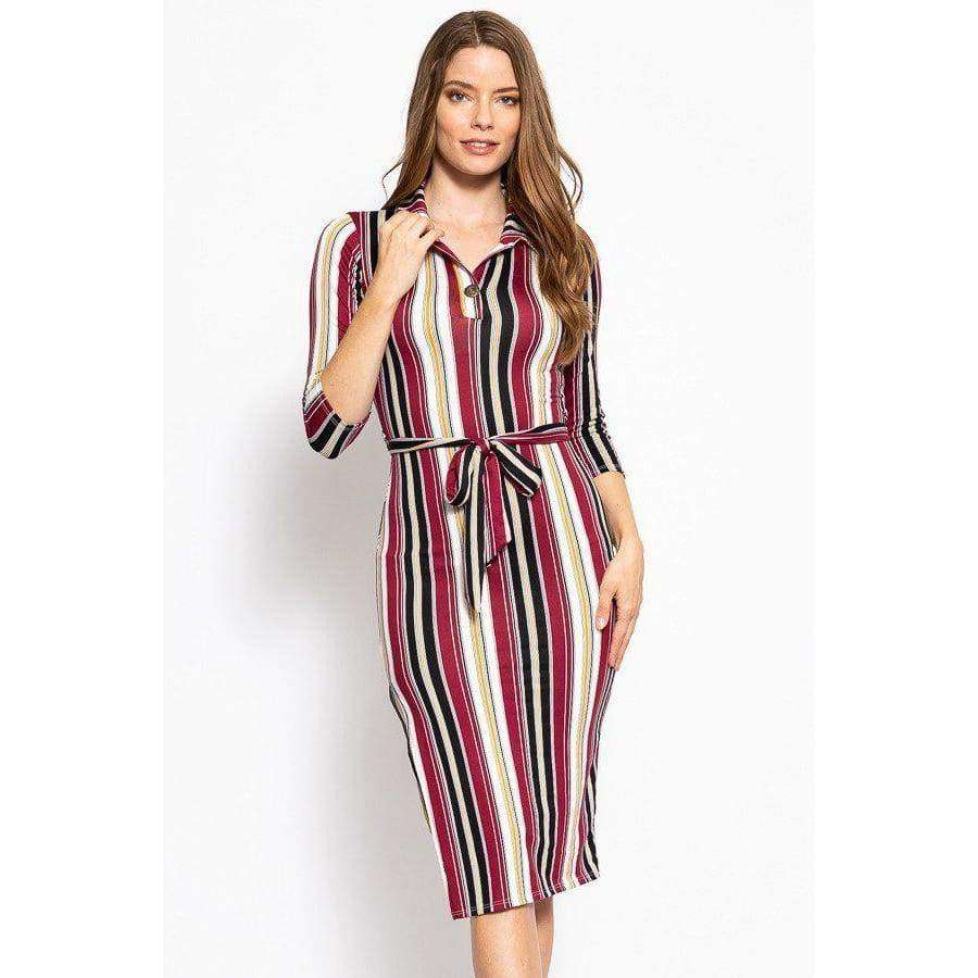 Stripes Print Midi Tee Dress With 3/4 Sleeves Collared V Neckline Decorative Button Matching Belt And A Side Slit