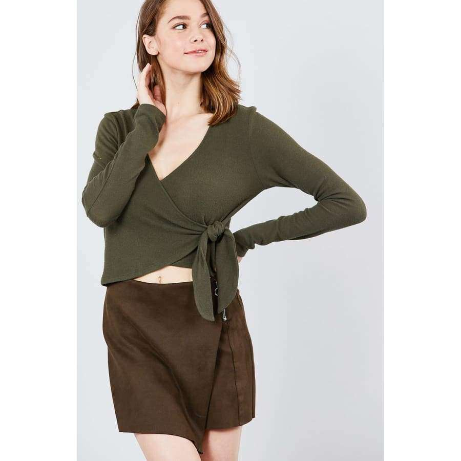 Long Sleeve V-Neck Wrapped Tie Brushed Olive Hacci Top - S - Top