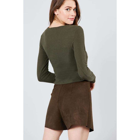 Long Sleeve V-Neck Wrapped Tie Brushed Olive Hacci Top - Top