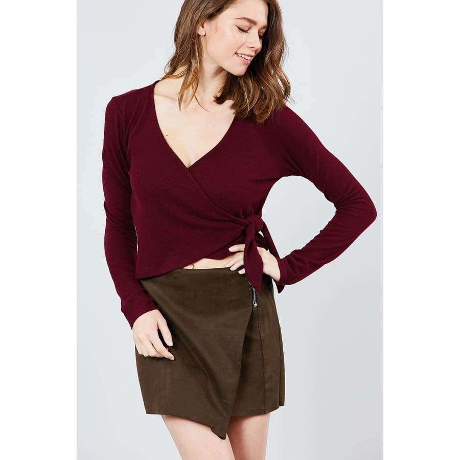 Long Sleeve V-Neck Wrapped Tie Brushed Burgundy Hacci Top - S - Top