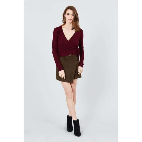 Long Sleeve V-Neck Wrapped Tie Brushed Burgundy Hacci Top - Top
